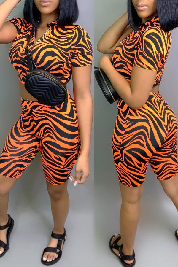 Lovely Leisure Printed Orange Two-piece Shorts Set