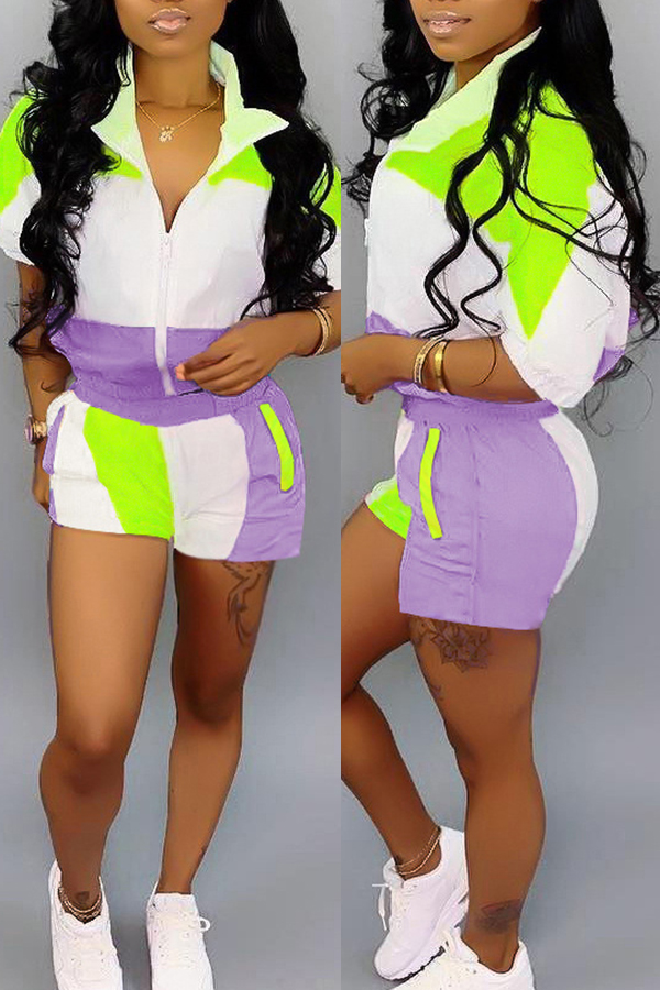Lovely Casual Patchwork Purple Two-piece Shorts Set