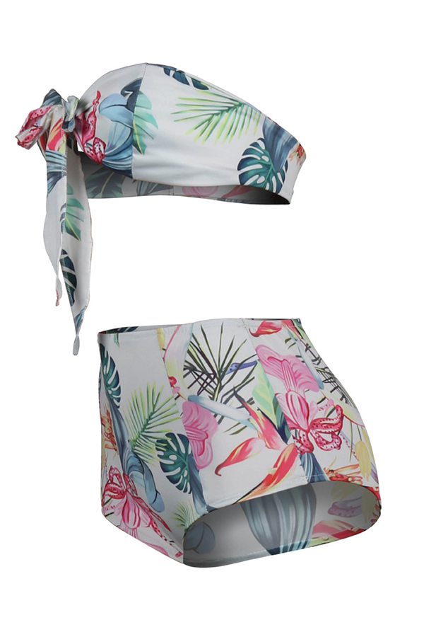 Lovely Printed High Waist Two-piece Swimwear