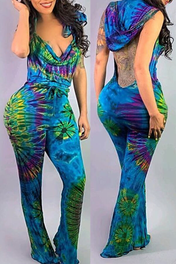 Lovely Sexy Printed Backless One-piece Jumpsuit