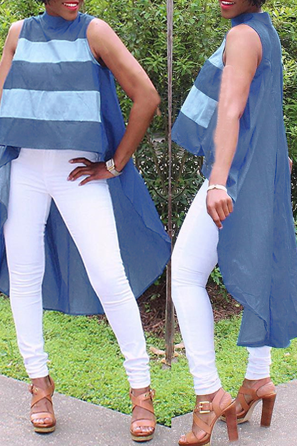Lovely Casual Asymmetrical Patchwork Blue Blouses