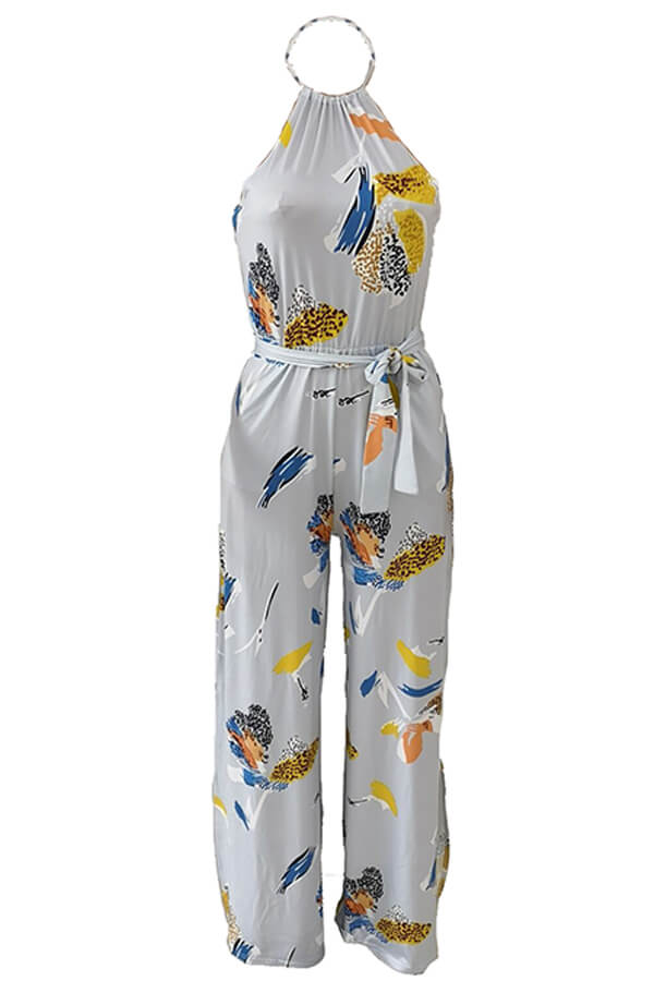 Lovely Bohemian Printed  Grey One-piece Jumpsuit
