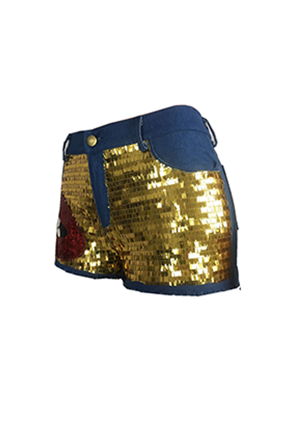 Lovely Stylish Sequin Decoration Blue Denim Shorts