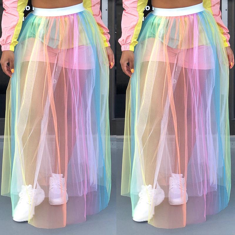 Lovely Bohemian Mesh Patchwork Floor Length A Line Skirt