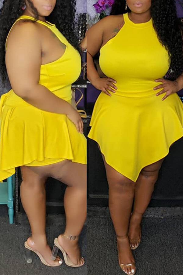 Lovely Sexy Halter Neck Asymmetrical Yellow One-piece Romper
