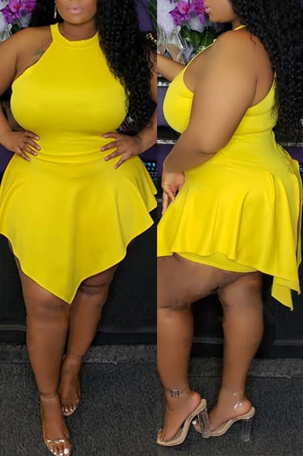 Lovely Sexy Asymmetrical Yellow Plus size Romper