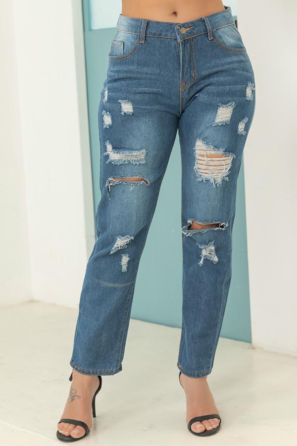 Lovely Stylish Mid Waist Broken Holes Deep Blue Jeans