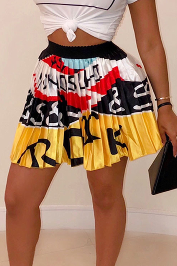 Lovely Casual Printed Drape Design Yellow Skirt