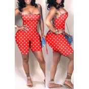 Lovely Sexy Dot Printed Hollow-out Red One-piece Romper(With Elastic)