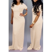 Lovely Casual Striped Creamy White Floor Length Ma