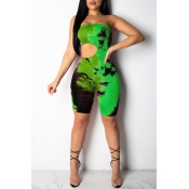 Lovely Sexy Dew Shoulder Hollowed-out Green One-piece Rompers