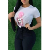 Lovely Casual Sequined Decorative White T-shirt