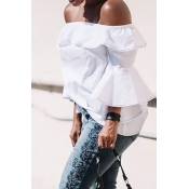 Lovely Off The Shoulder Ruffle White Shirts