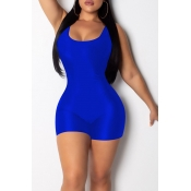 Lovely Casual Blue One-piece Skinny Romper(With Elastic)