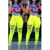 Lovely Casual High Waist Broken Holes Yellow Jeans