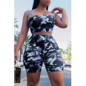 Lovely Leisure Camouflage Printed Blue Two-piece Shorts Set