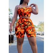 Lovely Leisure Camouflage Printed Orange Two-piece Shorts Set