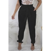 Lovely Stylish High Waist Lace-up Black Pants
