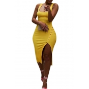 Lovely Work U Neck Side Split Yellow Knee Length Dress(With Elastic)
