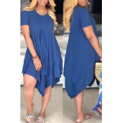 Lovely Casual Asymmetrical Dark Blue Mini Dress(With Elastic)