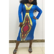 Lovely Ethnic Style Totem Printed Blue Knee Length