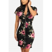 Lovely Women's Floral Printed Mini Dress(With Elas