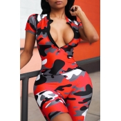 Lovely Casual Camouflage Printed Red One-piece Rom