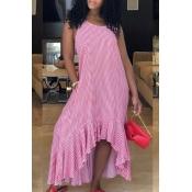 Lovely  Stylish Plaid Asymmetrical Pink Ankle Leng
