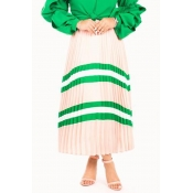 Lovely Casual Striped Green Ankle Length A Line Sk