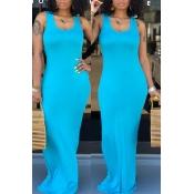 Lovely Casual Light Blue Floor Length Dress(With Elastic)