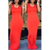 Lovely Casual Light Orange Floor Length Dress(With Elastic)