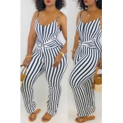 Lovely Casual Striped Navy One-piece Jumpsuit(With