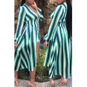 lovely Trendy Deep V Neck Striped Green Plus Size