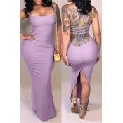 Vestido Largo Hasta El Tobillo Púrpura Sin Espalda Casual Encantador