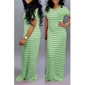 Lovely Casual Striped Green Floor Length Maxi Dress