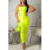 Lovely Sexy Sleeveless Ruffle Green Ankle Length D