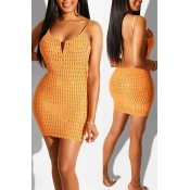 Lovely Women's U Neck Backless Yellow Mini Dress(W