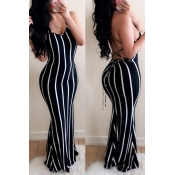 Lovely Casual Striped Backless Black Floor Length