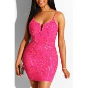 Lovely Women's U Neck Backless Rose Red Mini Dress