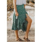 Lovely Bohemian Asymmetrical Printed Green Skirt
