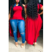 Lovely Casual O Neck Asymmetrical Red T-shirt