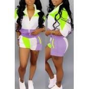 Precioso Conjunto De Pantalones Cortos De Dos Piezas De Patchwork Púrpura