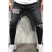 Lovely Stylish Broken Holes Patchwork Black Jeans