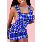 Lovely Sexy U Neck Backless Plaid Dark Blue Mini A Line Dress(With Elastic)