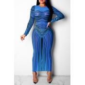 Lovely Casual Zebra Pattern Printed Blue Mini Dres