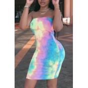 Adorável Fora Do Ombro Tie-dye Mini Vestido
