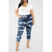 Lovely Trendy Printed Blue Jeans