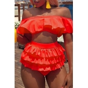 Lovely Sexy Cascading Ruffle Watermelon Red Two-piece Swimwear