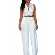 Lovely Casual Loose White One-piece Jumpsuit(With Belt)