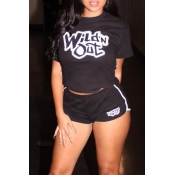Lovely Casual Letter Printed Black Two-piece Short
